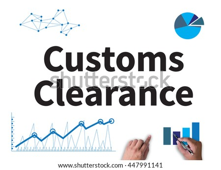 Customs Clearance businessman work on white broad, top view - stock photo