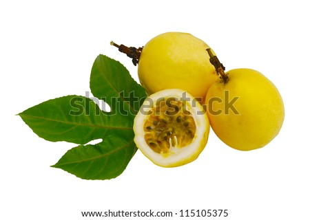 Cut and Complete Passion Fruit with Vine leaves and Coil Isolated - stock photo