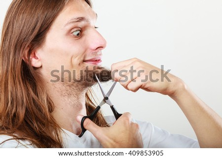 How To Trim Mens Long Hair With Scissors : Cut shave concept young man long stock photo 401088946 shutterstock