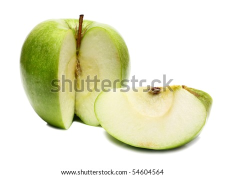 cut apple to pieces isolated on white background - stock photo