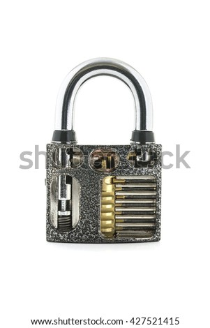 Cut Away Padlock showing how a Padlock Works on a White Background - stock photo