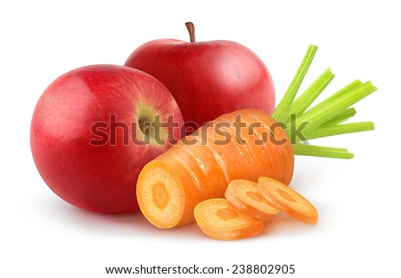Cut carrot and red apples over white background, with clipping path - stock photo
