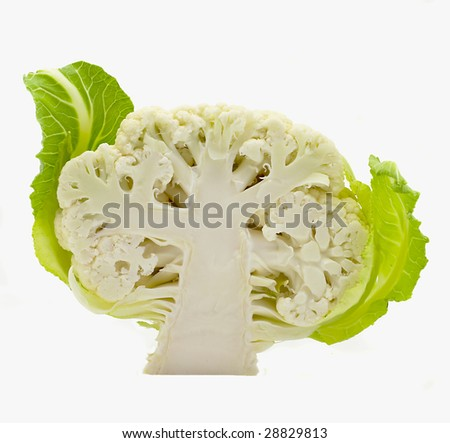 Cut Cauliflower with leaves isolated on the white - stock photo