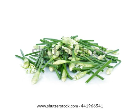 cut chinese chive flowering onions stalk pile vegetable food nature background - stock photo