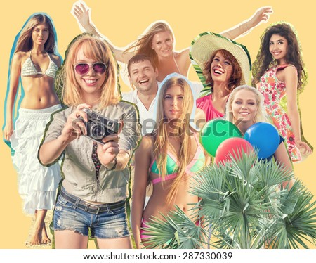 Cut Collage of people with different emotions. Collection of beautiful happy human portraits - stock photo