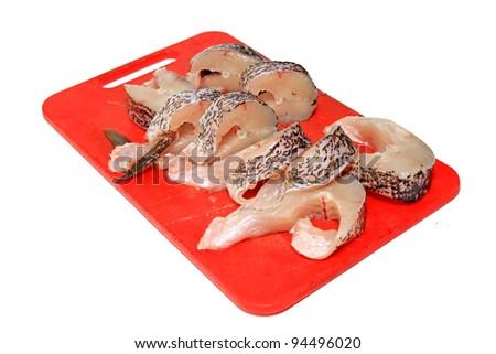 cut fish on white background - stock photo