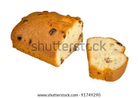 cut fruitcake with raisin isolated on white background - stock photo