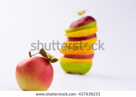 cut fruits and apple