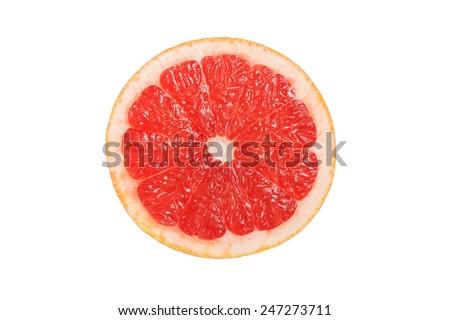 cut grapefruit citrus isolated - stock photo