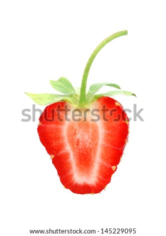 Cut half strawberry - stock photo