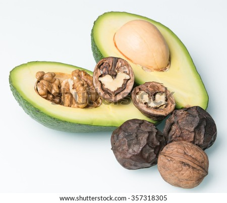 cut in half avocado  with natural walnut in shell