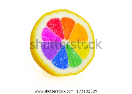 Cut lemon on white background with different colored slices