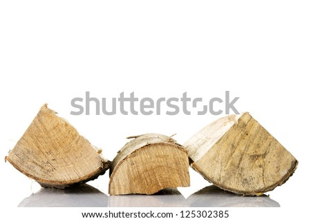 Cut log fire wood from birch-tree. Isolated on white. - stock photo