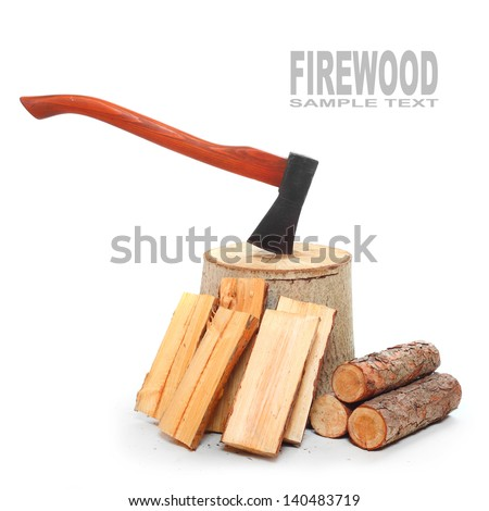 Cut logs fire wood and axe. Renewable resource of a energy. Environmental concept. - stock photo