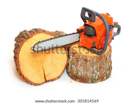 Cut logs fire wood and chainsaw isolated on white background.  Firewood as a renewable resource of a energy. Environmental concept. - stock photo