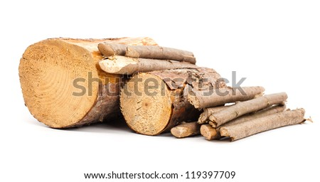 Cut logs Renewable energy. isolated on white - stock photo