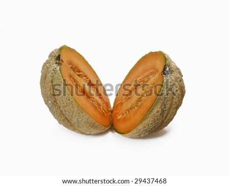 Cut melon isolated on white background
