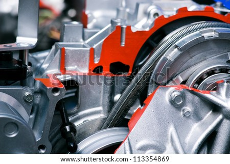 Cut metal engine. Visual layout. - stock photo