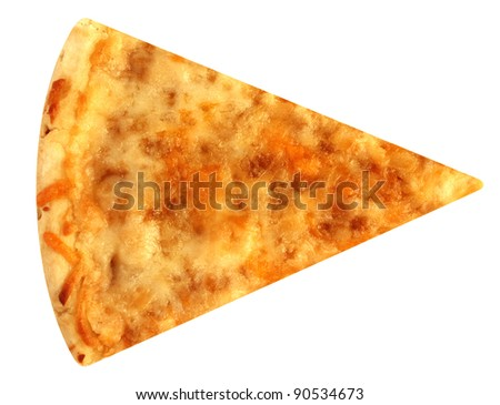 Cut off slice cheese pizza isolated on white background