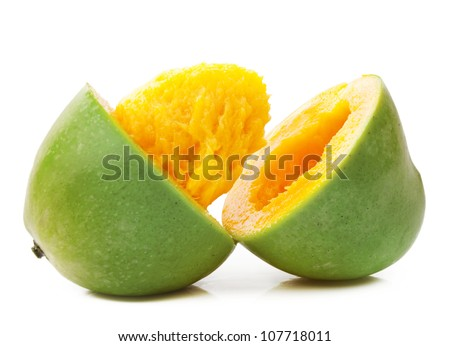 Cut Open Mango - stock photo