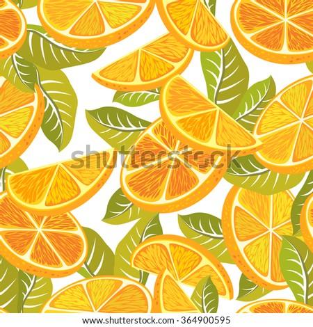 Cut orange decorative seamless retro pattern on a white background. Textile and wallpaper fruit background.  - stock photo