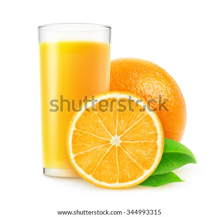 Cut orange fruits and glass of juice isolated on white background with clipping path - stock photo