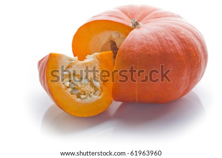 Cut orange Pumpkin, isolated on white background. Back-lit. - stock photo