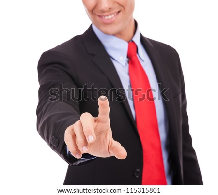 cut out image of a young business man pushing a button on white background - stock photo