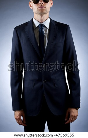 cut out picture of a businessman wearing sunglasses