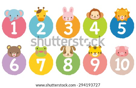Cut out numbers on colorful circles stock illustration 294193727 cut out the numbers on colorful circles 1 to 10 on the animals voltagebd Images