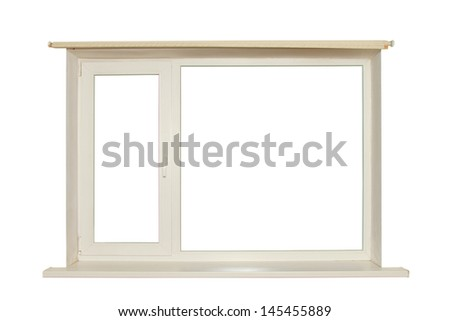 cut out window on white background - stock photo