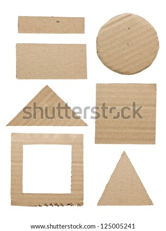 Cut paper cardboard as a geometry shape isolated on white background - stock photo