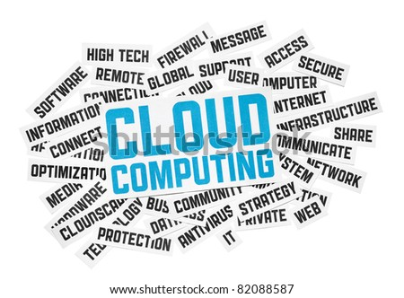 Cut pieces of paper with text on cloud computing theme. Isolated on white. - stock photo