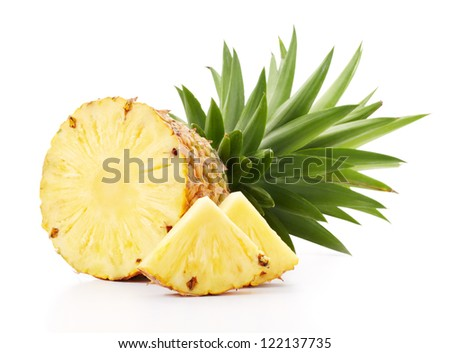 cut pineapple with slices isolated on white - stock photo