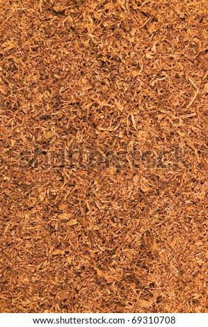 Cut Pipe Tobacco Texture Background, Macro Closeup - stock photo
