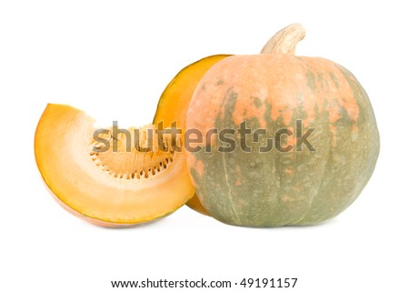 Cut pumpkin. Isolated on white background.