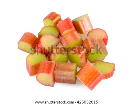 cut rhubarb stems isolated on white