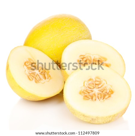 Cut ripe melons isolated on white - stock photo