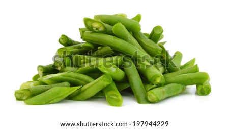 cut small and slender green beans (haricot vert) on a white background  - stock photo