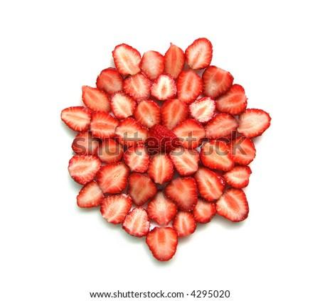 cut strawberries - stock photo