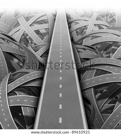 Cut through the mess for Solutions and success with clear vision and strategy building a road bridge over a maze of tangled mess of roads and highways cutting through the confusion. - stock photo
