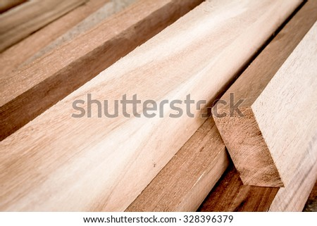Cut timber or sawed timber prepare for the construction - stock photo