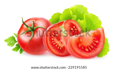 Cut tomatoes with lettuce and parsley leaves over white background, with clipping path - stock photo