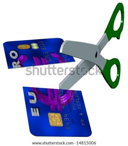 cut up credit card - stock photo