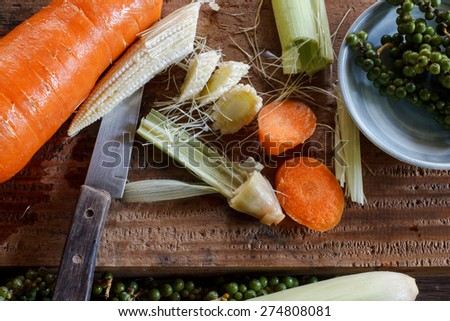 cut vegetable preparing for cook dinner - stock photo