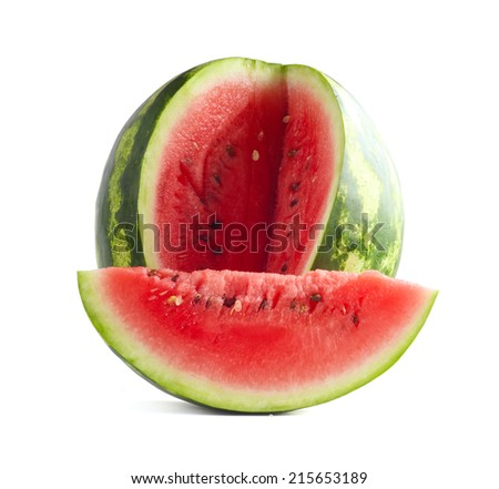 Cut Watermelon and slice isolated on white background - stock photo
