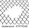 Cut wire fence. White background. Vector file also available: please check our portfolio. - stock photo