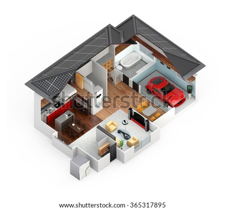 Cutaway view of smart house. This house supply with home battery system, energy saving appliance, and electric car. - stock photo