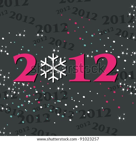 Cute, abstract New Year's illustration - stock photo