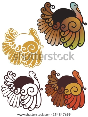 cute abstract turkey spot illustrations, in full color, non gradient, black outline, and reverse for dark backgrounds  - stock photo